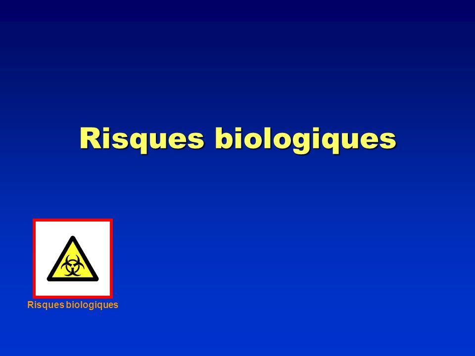 Sources communes de risques biologiques en cytométrie en flux Echantillons frais (non fixés) Echantillons frais (non fixés) Matériel humain ou animal (singes, porcs) Matériel humain ou animal (singes, porcs) Vecteurs viraux pour transfections génétiques Vecteurs viraux pour transfections génétiques Transmission de maladies entre espèces Transmission de maladies entre espèces Pathogènes résistants aux traitement Pathogènes résistants aux traitement OGM OGM Certains virus carcinogènes (hépatite) Certains virus carcinogènes (hépatite)