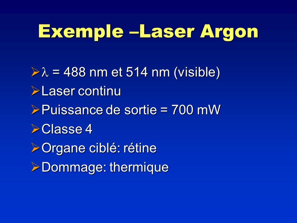 Exemple –Laser Argon = 488 nm et 514 nm (visible) = 488 nm et 514 nm (visible) Laser continu Laser continu Puissance de sortie = 700 mW Puissance de s
