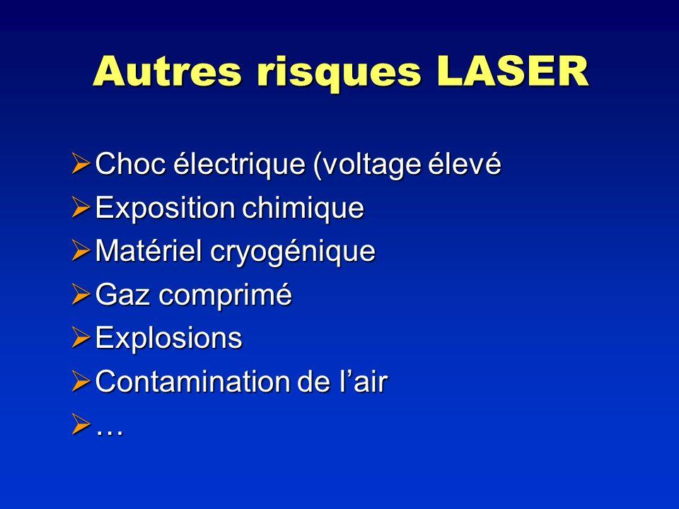 Autres risques LASER Choc électrique (voltage élevé Choc électrique (voltage élevé Exposition chimique Exposition chimique Matériel cryogénique Matéri