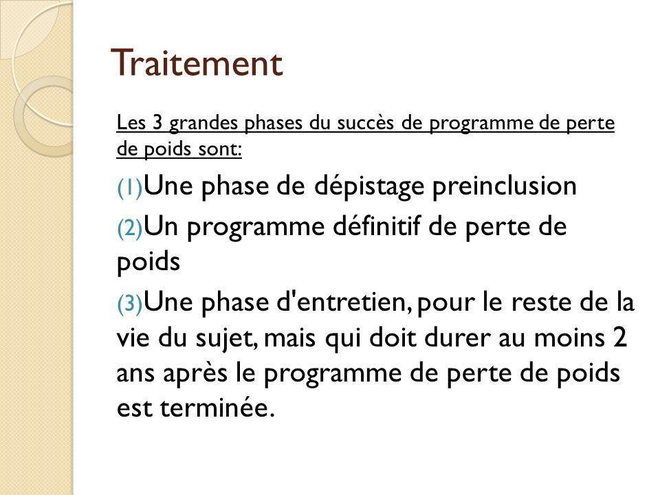 Traitement Les 3 grandes phases du succès de programme de perte de poids sont: (1) Une phase de dépistage preinclusion (2) Un programme définitif de p