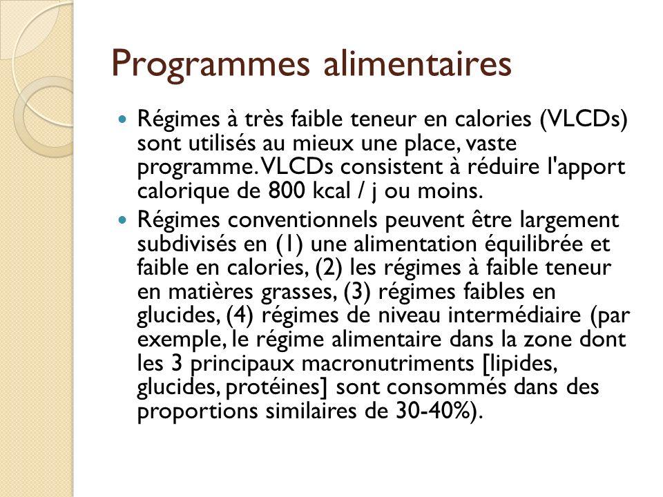 Programmes alimentaires Régimes à très faible teneur en calories (VLCDs) sont utilisés au mieux une place, vaste programme. VLCDs consistent à réduire