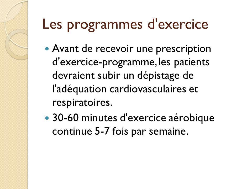 Les programmes d'exercice Avant de recevoir une prescription d'exercice-programme, les patients devraient subir un dépistage de l'adéquation cardiovas