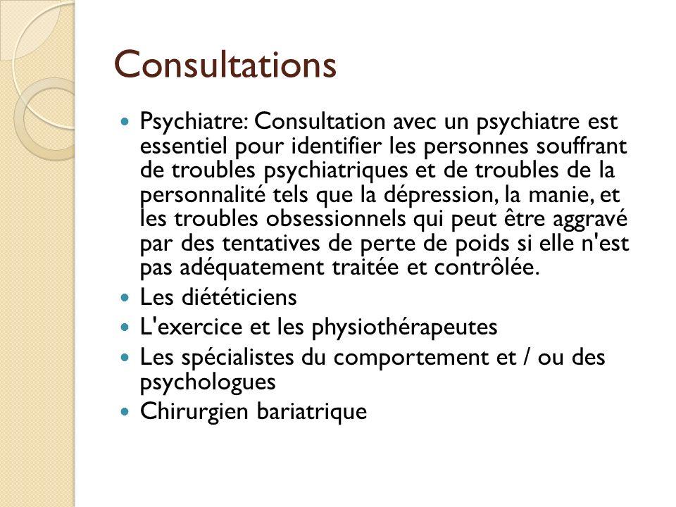 Consultations Psychiatre: Consultation avec un psychiatre est essentiel pour identifier les personnes souffrant de troubles psychiatriques et de troub