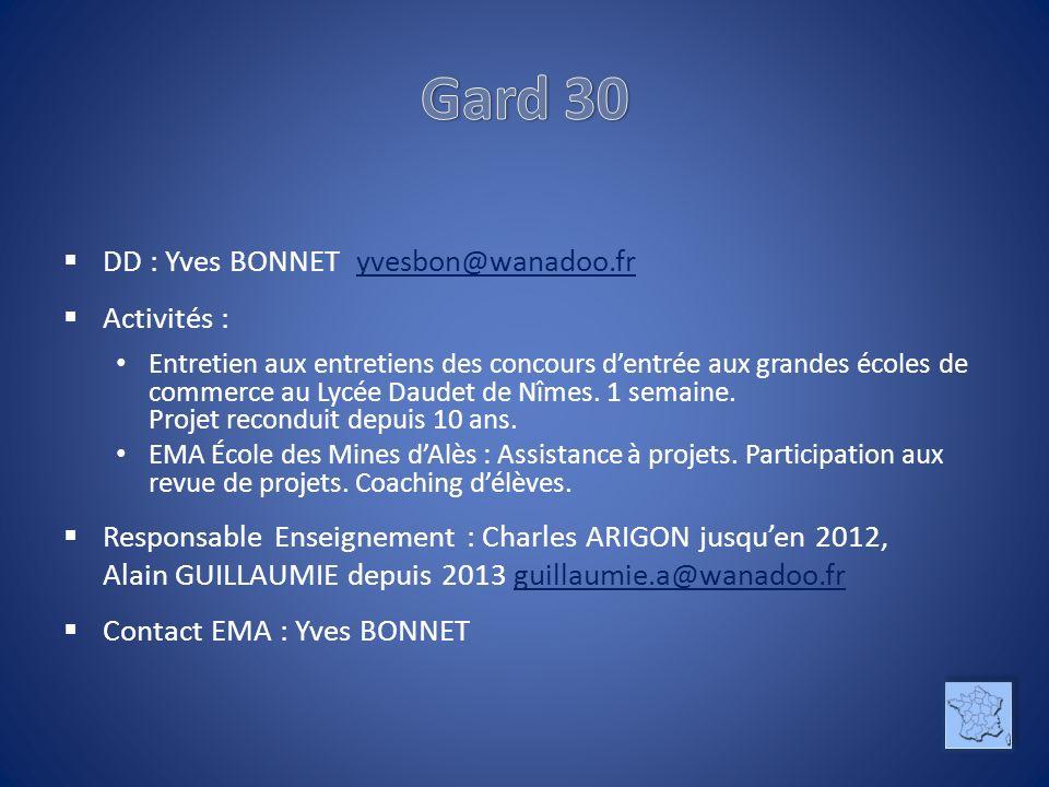DD : Yves BONNET yvesbon@wanadoo.fryvesbon@wanadoo.fr Activités : Entretien aux entretiens des concours dentrée aux grandes écoles de commerce au Lycée Daudet de Nîmes.