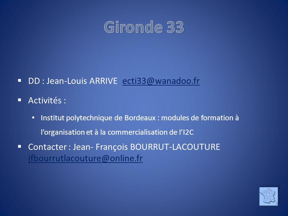 DD : Jean-Louis ARRIVE ecti33@wanadoo.frecti33@wanadoo.fr Activités : Institut polytechnique de Bordeaux : modules de formation à lorganisation et à la commercialisation de lI2C Contacter : Jean- François BOURRUT-LACOUTURE jfbourrutlacouture@online.fr jfbourrutlacouture@online.fr