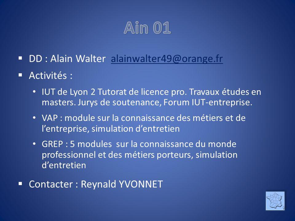 DD : Alain Walter alainwalter49@orange.fralainwalter49@orange.fr Activités : IUT de Lyon 2 Tutorat de licence pro.