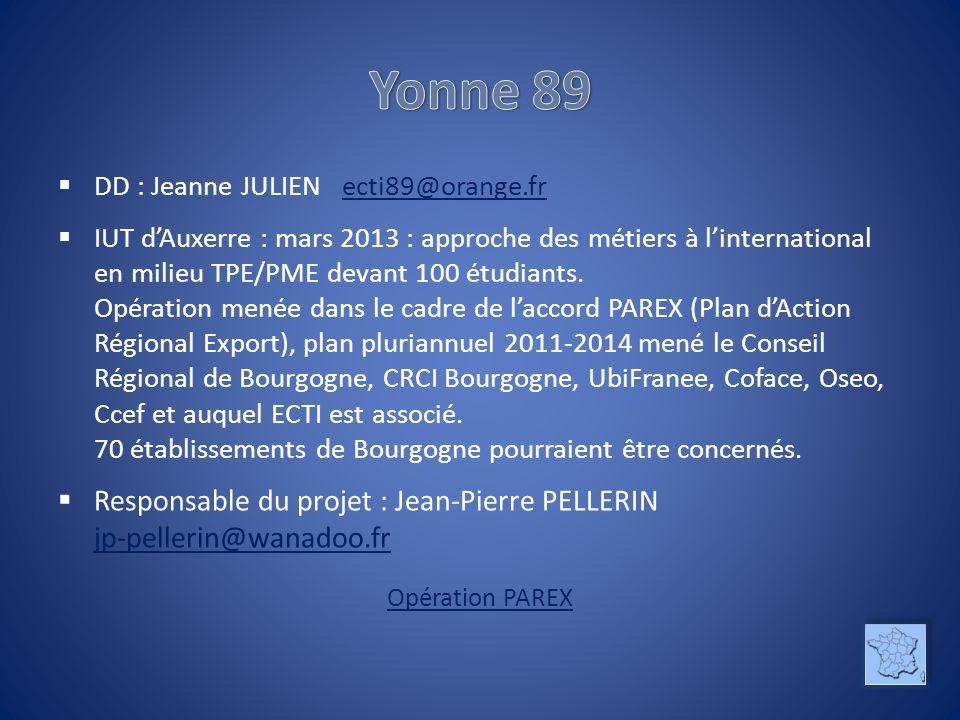 DD : Jeanne JULIEN ecti89@orange.fr ecti89@orange.fr IUT dAuxerre : mars 2013 : approche des métiers à linternational en milieu TPE/PME devant 100 étudiants.