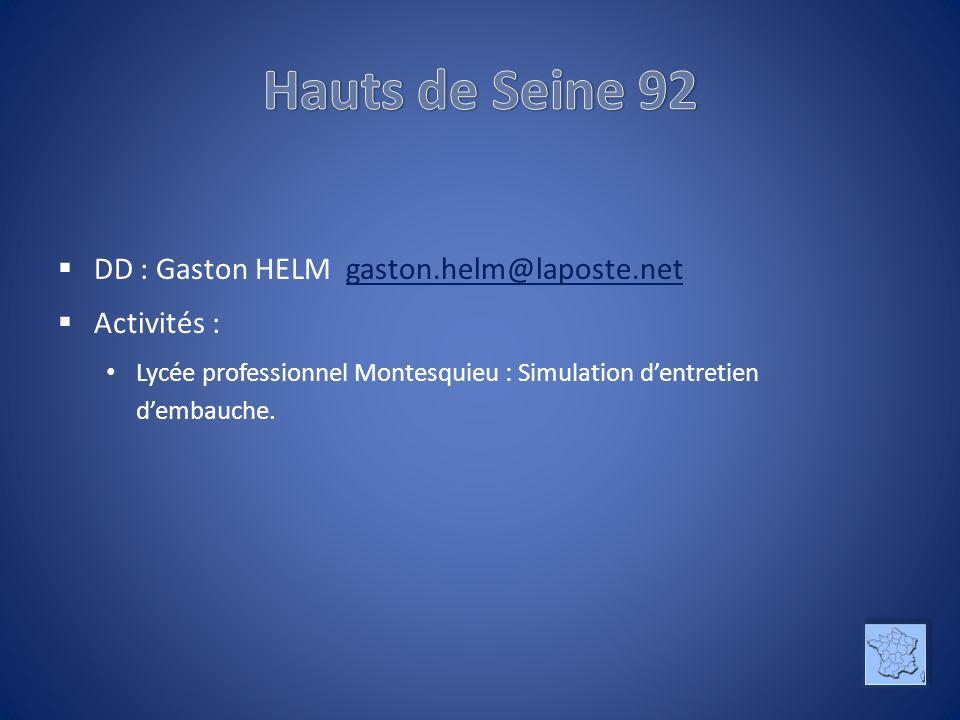 DD : Gaston HELM gaston.helm@laposte.netgaston.helm@laposte.net Activités : Lycée professionnel Montesquieu : Simulation dentretien dembauche.
