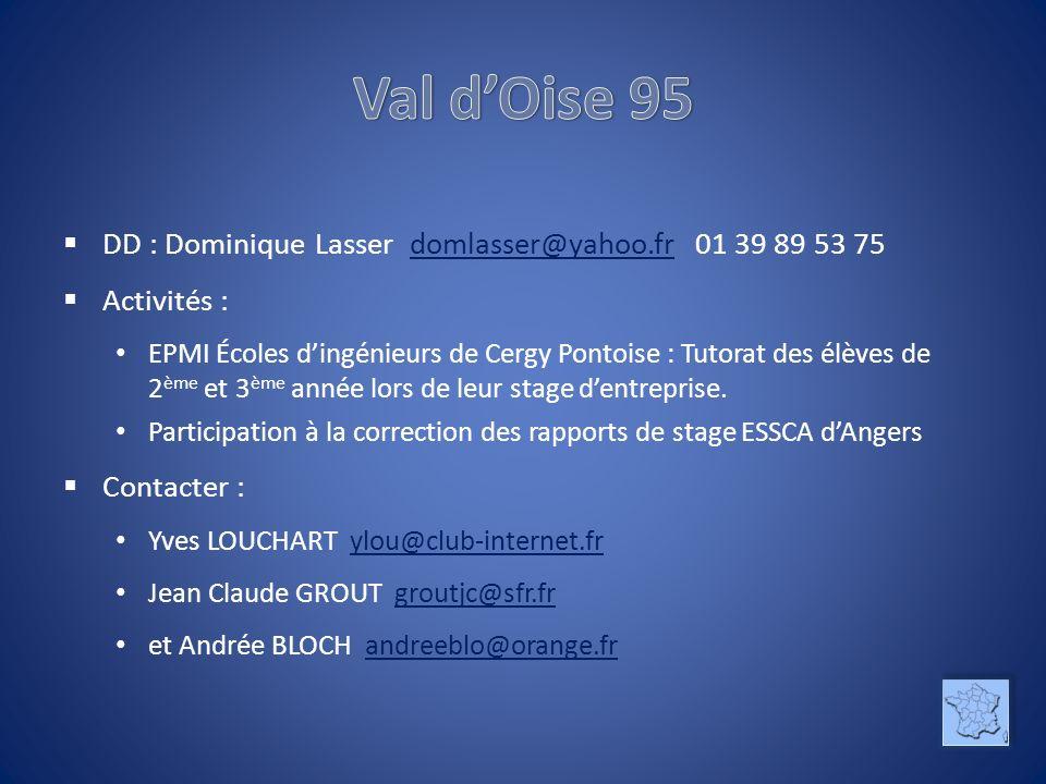 DD : Dominique Lasser domlasser@yahoo.fr 01 39 89 53 75domlasser@yahoo.fr Activités : EPMI Écoles dingénieurs de Cergy Pontoise : Tutorat des élèves de 2 ème et 3 ème année lors de leur stage dentreprise.
