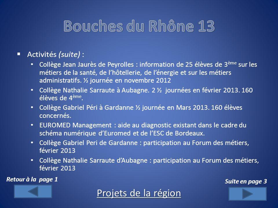 Activités (suite) : Collège Jean Jaurès de Peyrolles : information de 25 élèves de 3 ème sur les métiers de la santé, de lhôtellerie, de lénergie et sur les métiers administratifs.