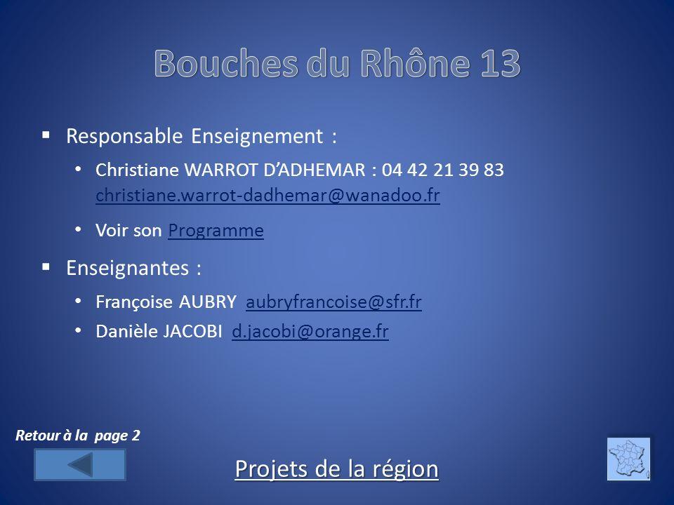 Responsable Enseignement : Christiane WARROT DADHEMAR : 04 42 21 39 83 christiane.warrot-dadhemar@wanadoo.fr christiane.warrot-dadhemar@wanadoo.fr Voir son ProgrammeProgramme Enseignantes : Françoise AUBRY aubryfrancoise@sfr.fraubryfrancoise@sfr.fr Danièle JACOBI d.jacobi@orange.frd.jacobi@orange.fr Projets de la région Projets de la région Retour à la page 2
