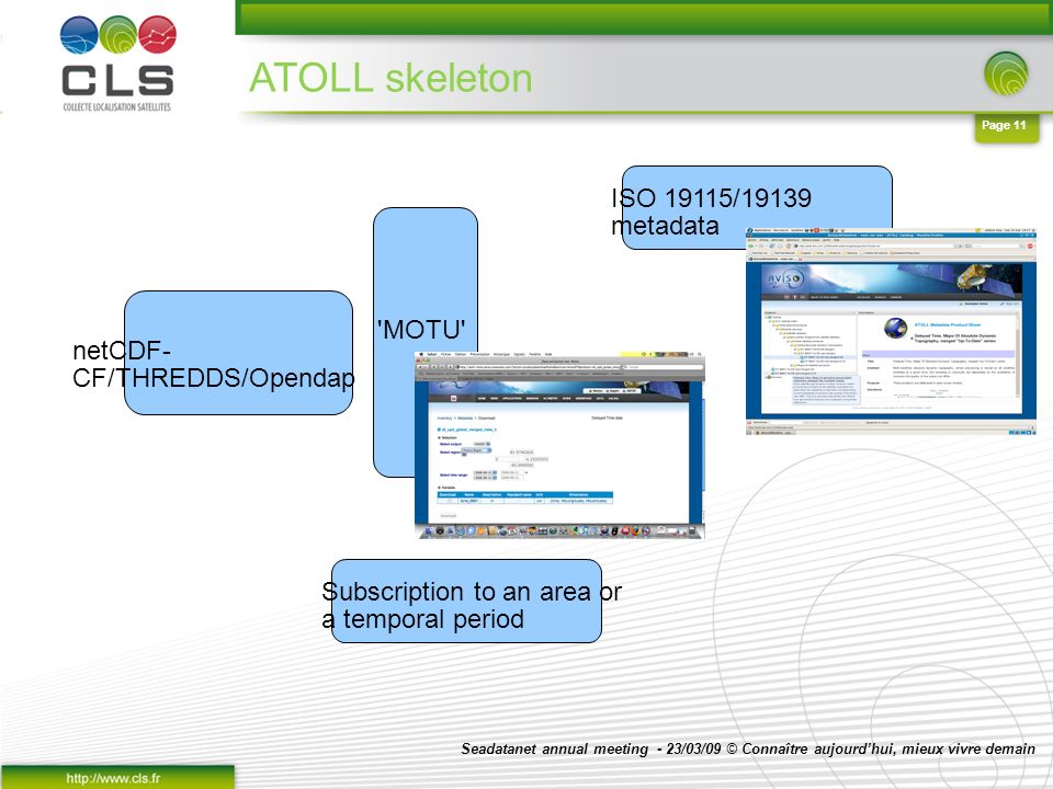 Seadatanet annual meeting - 23/03/09 © Connaître aujourdhui, mieux vivre demain Page 11 ATOLL skeleton netCDF- CF/THREDDS/Opendap MOTU ISO 19115/19139 metadata Subscription to an area or a temporal period