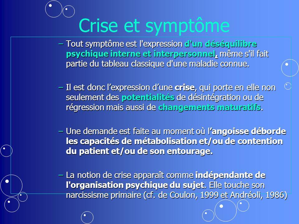 Crise et symptôme –Tout symptôme est l expression d un déséquilibre psychique interne et interpersonnel, même s il fait partie du tableau classique d une maladie connue.