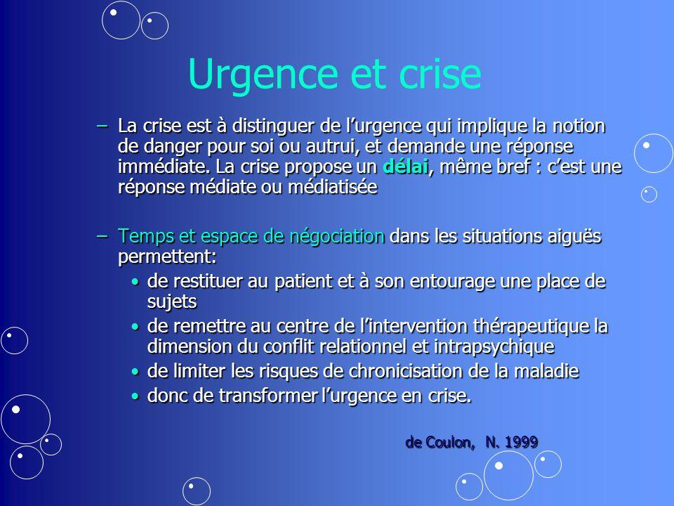Urgence et crise –La crise est à distinguer de lurgence qui implique la notion de danger pour soi ou autrui, et demande une réponse immédiate.