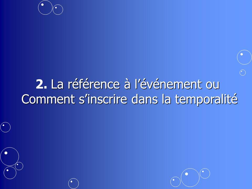 La référence à lévénement ou 2. La référence à lévénement ou Comment sinscrire dans la temporalité