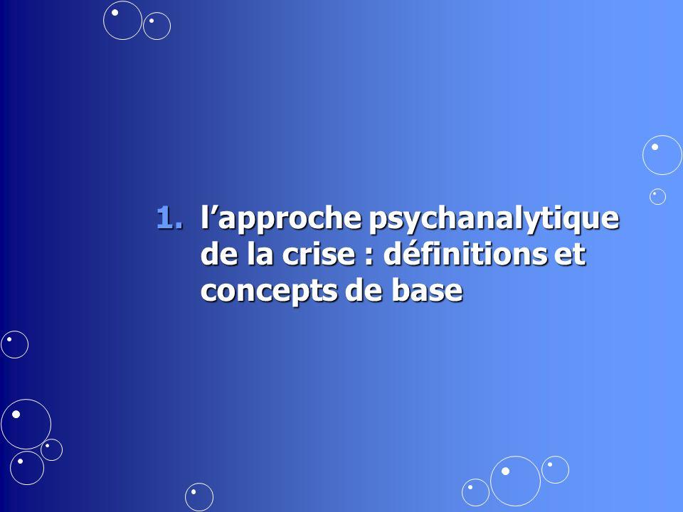 1.lapproche psychanalytique de la crise : définitions et concepts de base