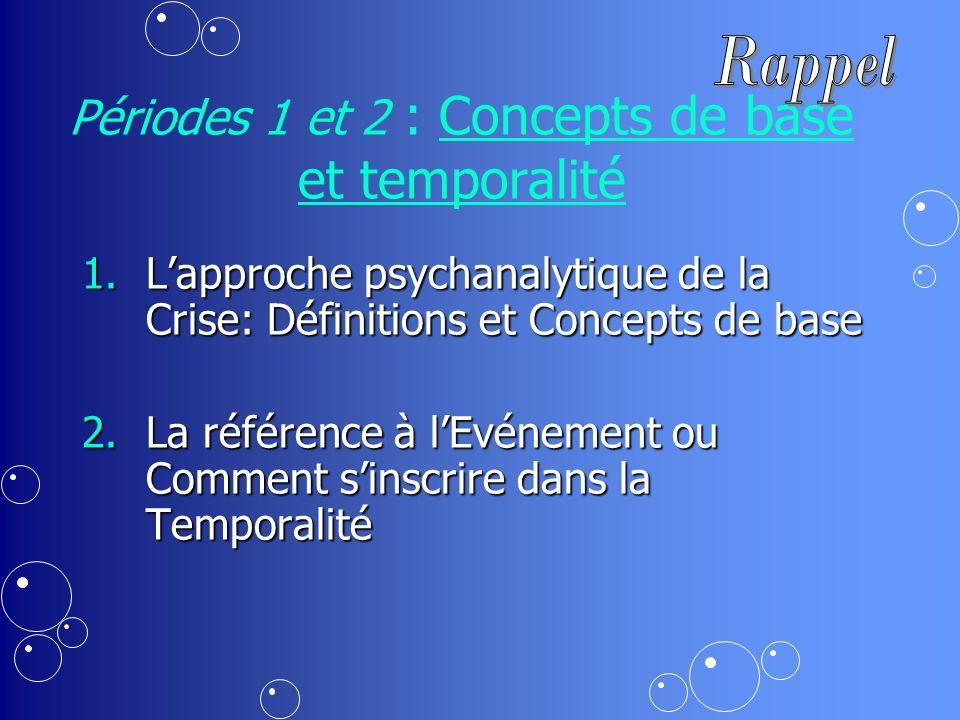 Périodes 1 et 2 : Concepts de base et temporalité 1.Lapproche psychanalytique de la Crise: Définitions et Concepts de base 2.La référence à lEvénement ou Comment sinscrire dans la Temporalité