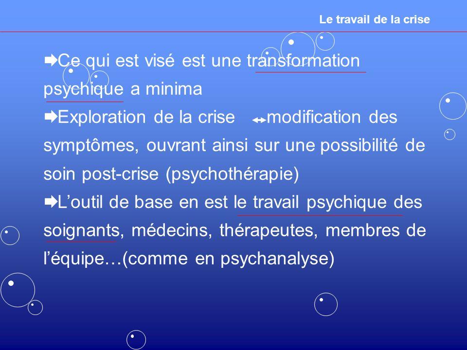 Le travail de la crise Ce qui est visé est une transformation psychique a minima Exploration de la crise modification des symptômes, ouvrant ainsi sur une possibilité de soin post-crise (psychothérapie) Loutil de base en est le travail psychique des soignants, médecins, thérapeutes, membres de léquipe…(comme en psychanalyse)
