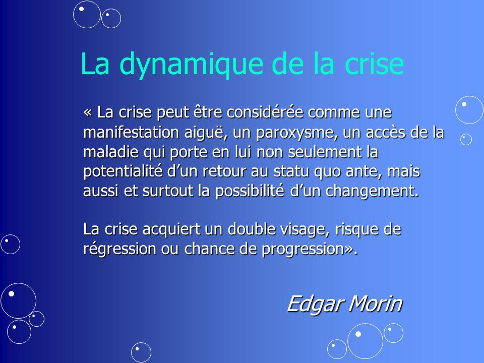La dynamique de la crise « La crise peut être considérée comme une manifestation aiguë, un paroxysme, un accès de la maladie qui porte en lui non seulement la potentialité dun retour au statu quo ante, mais aussi et surtout la possibilité dun changement.