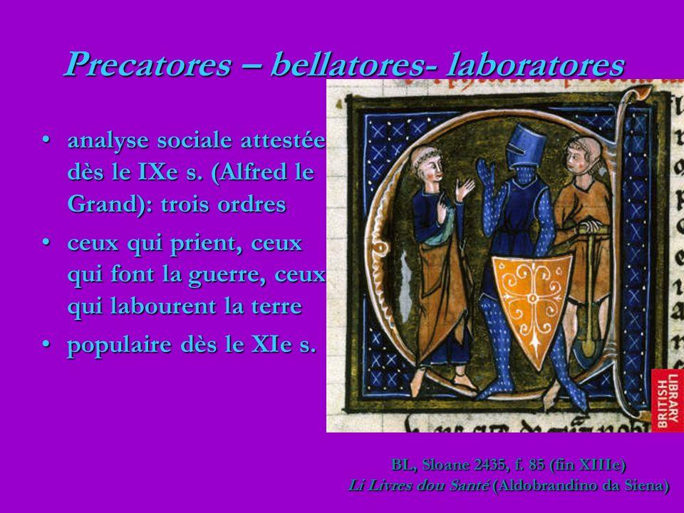 Precatores – bellatores- laboratores analyse sociale attestée dès le IXe s. (Alfred le Grand): trois ordresanalyse sociale attestée dès le IXe s. (Alf
