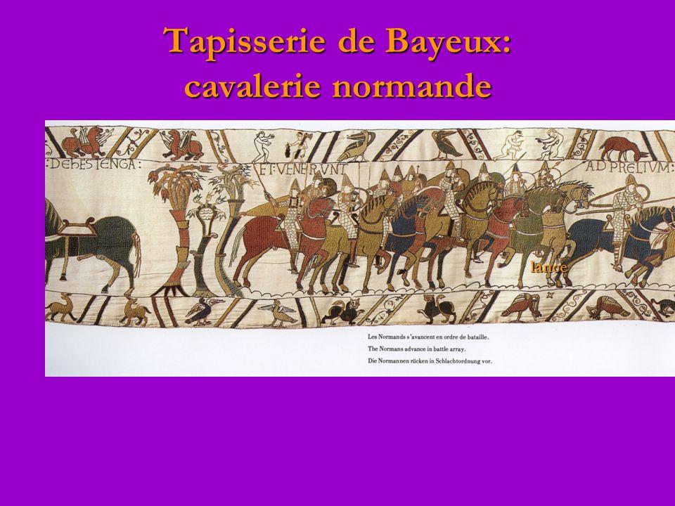 Tapisserie de Bayeux: cavalerie normande lance