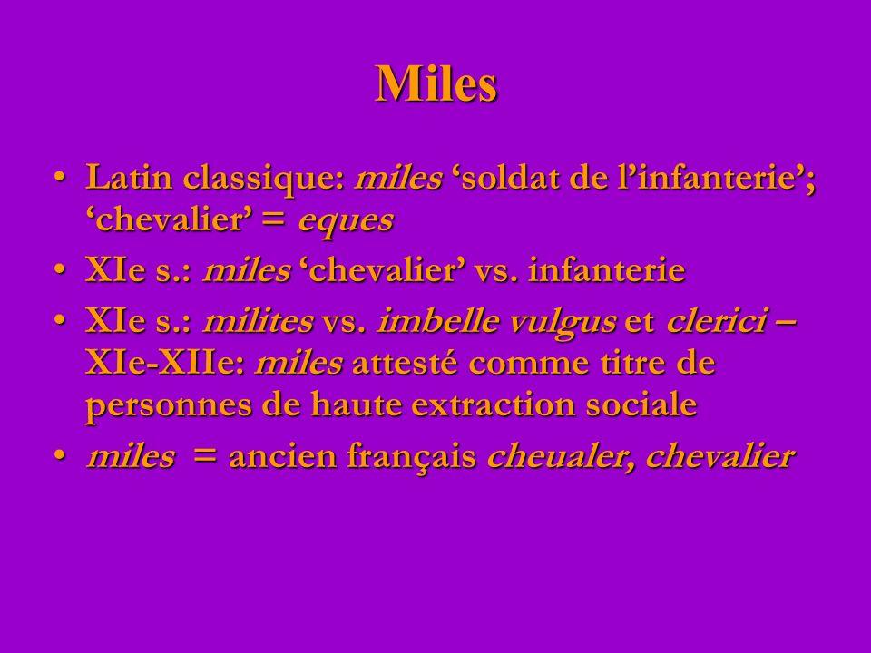 Miles Latin classique: miles soldat de linfanterie; chevalier = equesLatin classique: miles soldat de linfanterie; chevalier = eques XIe s.: miles che
