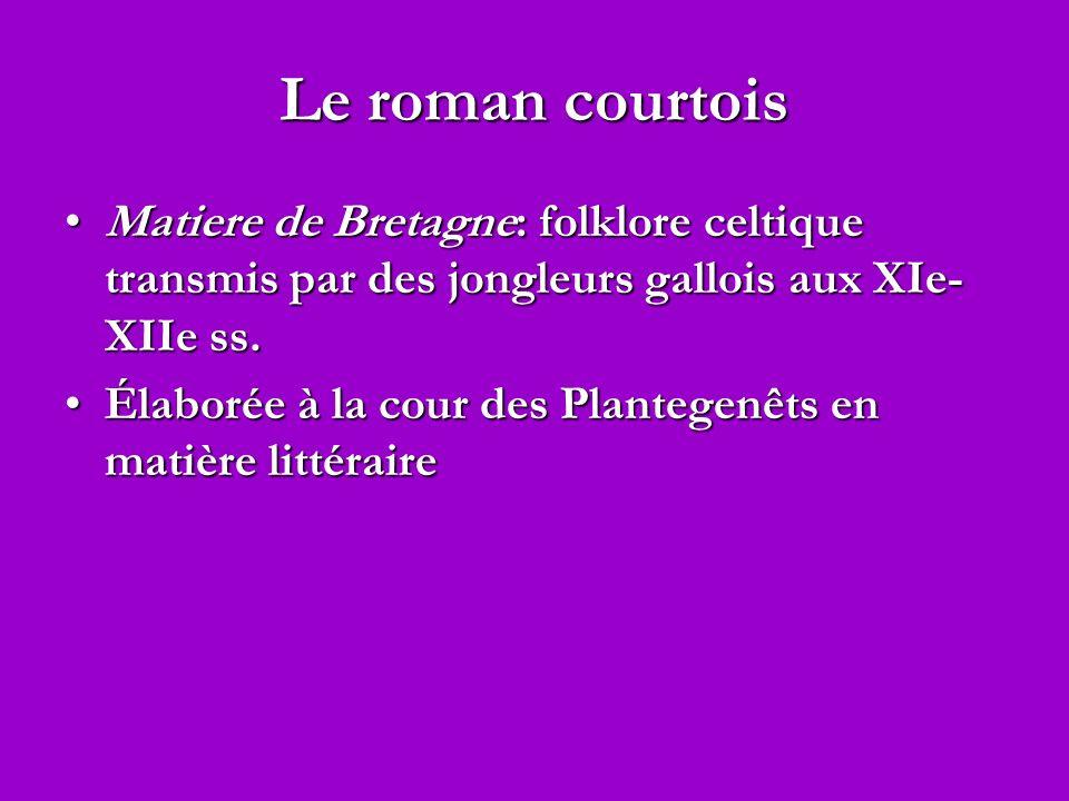 Le roman courtois Matiere de Bretagne: folklore celtique transmis par des jongleurs gallois aux XIe- XIIe ss.Matiere de Bretagne: folklore celtique tr