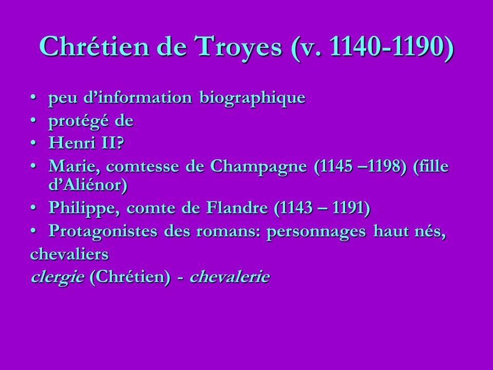 Chrétien de Troyes (v. 1140-1190) peu dinformation biographiquepeu dinformation biographique protégé deprotégé de Henri II?Henri II? Marie, comtesse d