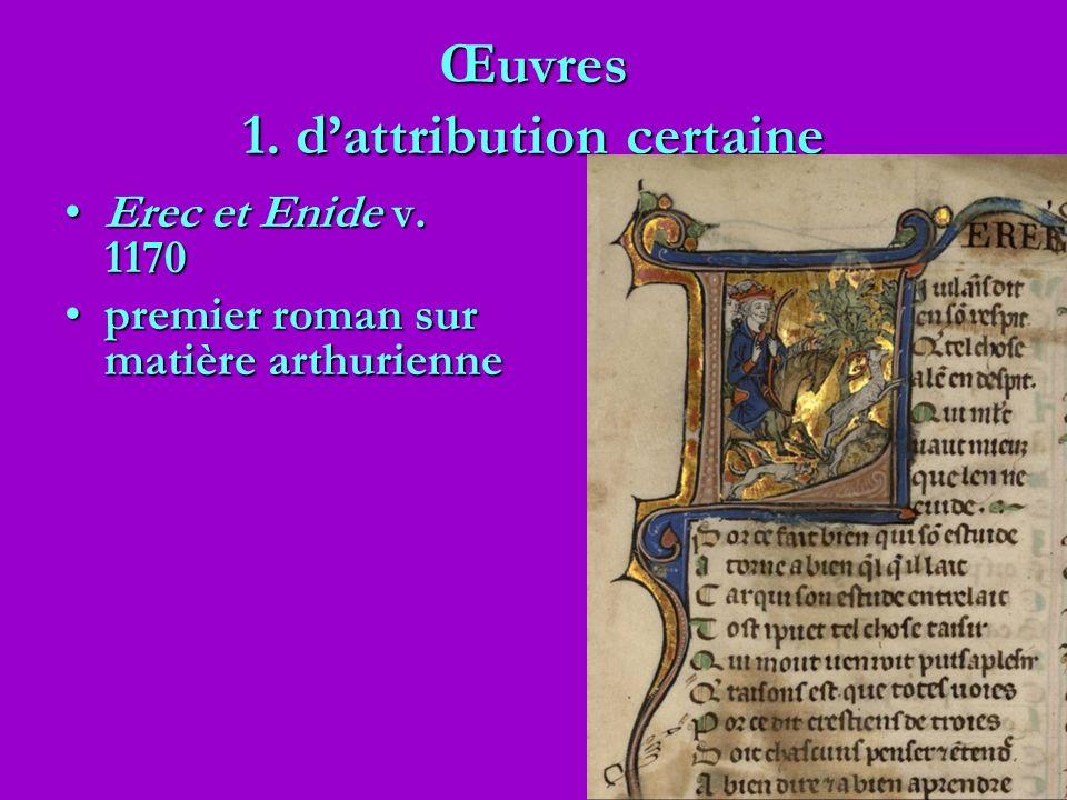 Œuvres 1. dattribution certaine Erec et Enide v. 1170Erec et Enide v. 1170 premier roman sur matière arthuriennepremier roman sur matière arthurienne