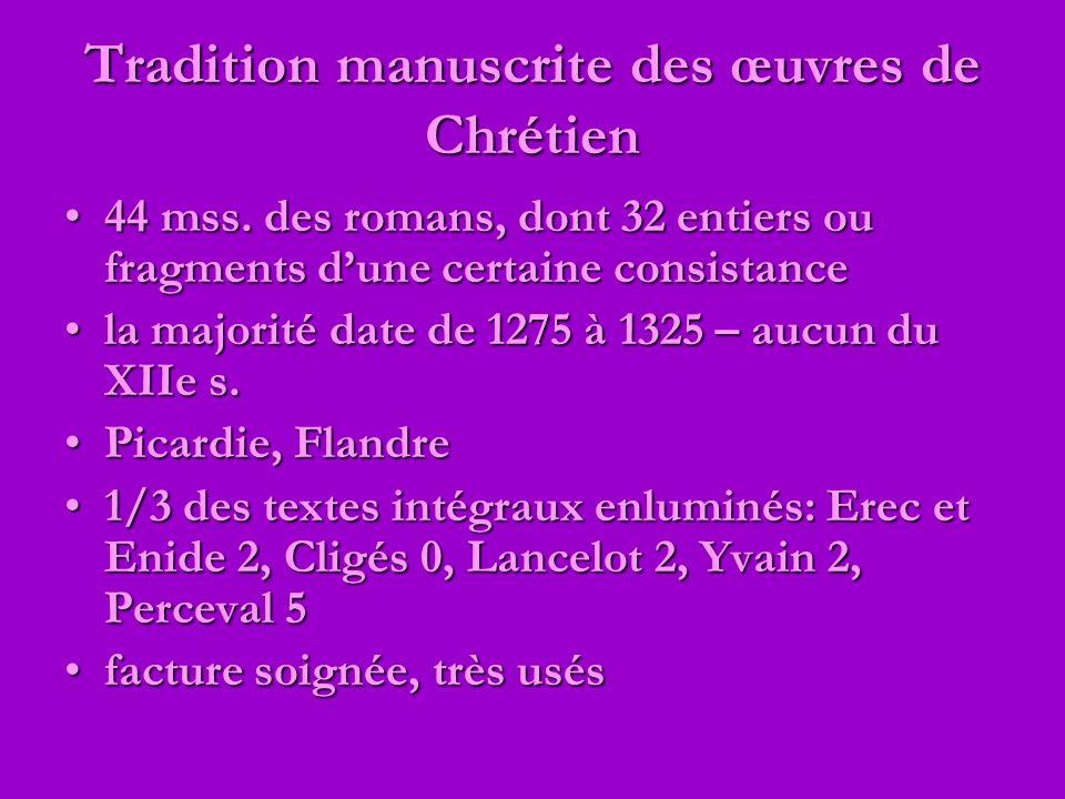 Tradition manuscrite des œuvres de Chrétien 44 mss. des romans, dont 32 entiers ou fragments dune certaine consistance44 mss. des romans, dont 32 enti
