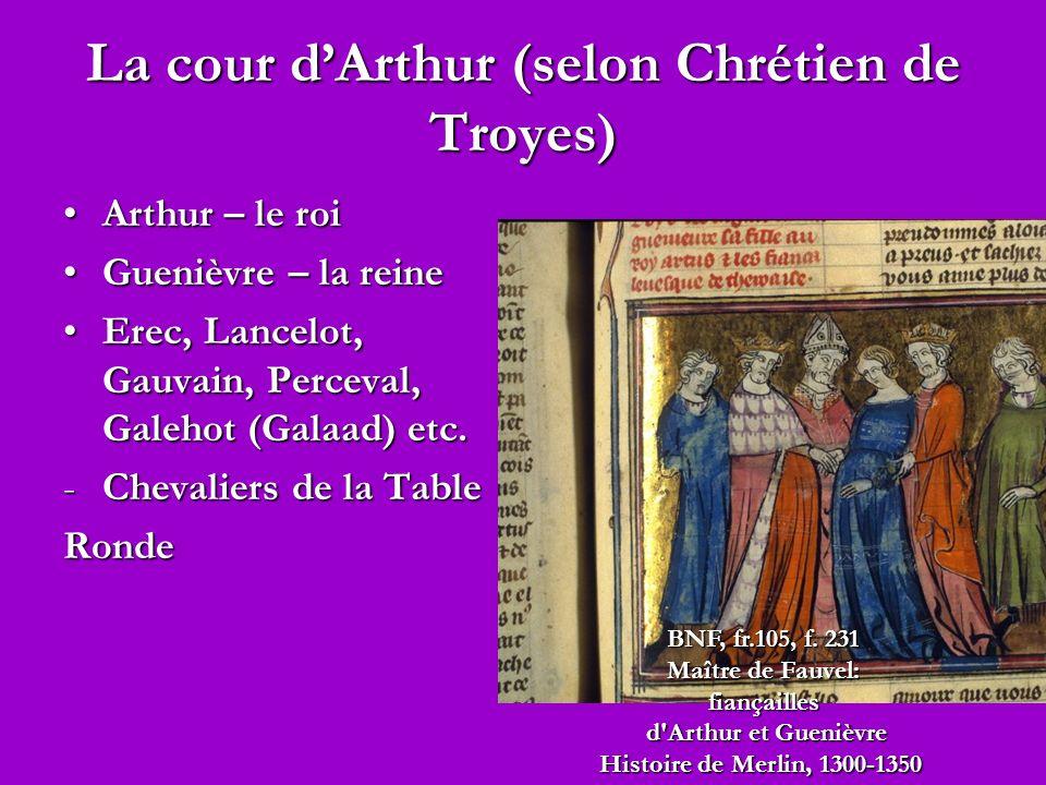 La cour dArthur (selon Chrétien de Troyes) Arthur – le roiArthur – le roi Guenièvre – la reineGuenièvre – la reine Erec, Lancelot, Gauvain, Perceval, Galehot (Galaad) etc.Erec, Lancelot, Gauvain, Perceval, Galehot (Galaad) etc.