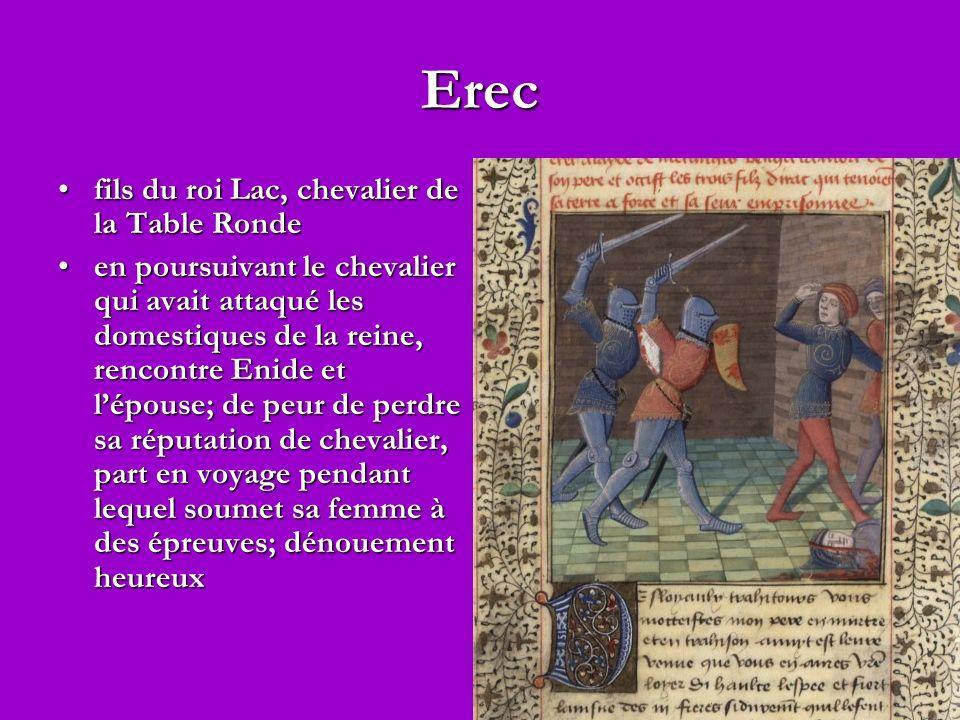 Erec fils du roi Lac, chevalier de la Table Rondefils du roi Lac, chevalier de la Table Ronde en poursuivant le chevalier qui avait attaqué les domestiques de la reine, rencontre Enide et lépouse; de peur de perdre sa réputation de chevalier, part en voyage pendant lequel soumet sa femme à des épreuves; dénouement heureuxen poursuivant le chevalier qui avait attaqué les domestiques de la reine, rencontre Enide et lépouse; de peur de perdre sa réputation de chevalier, part en voyage pendant lequel soumet sa femme à des épreuves; dénouement heureux
