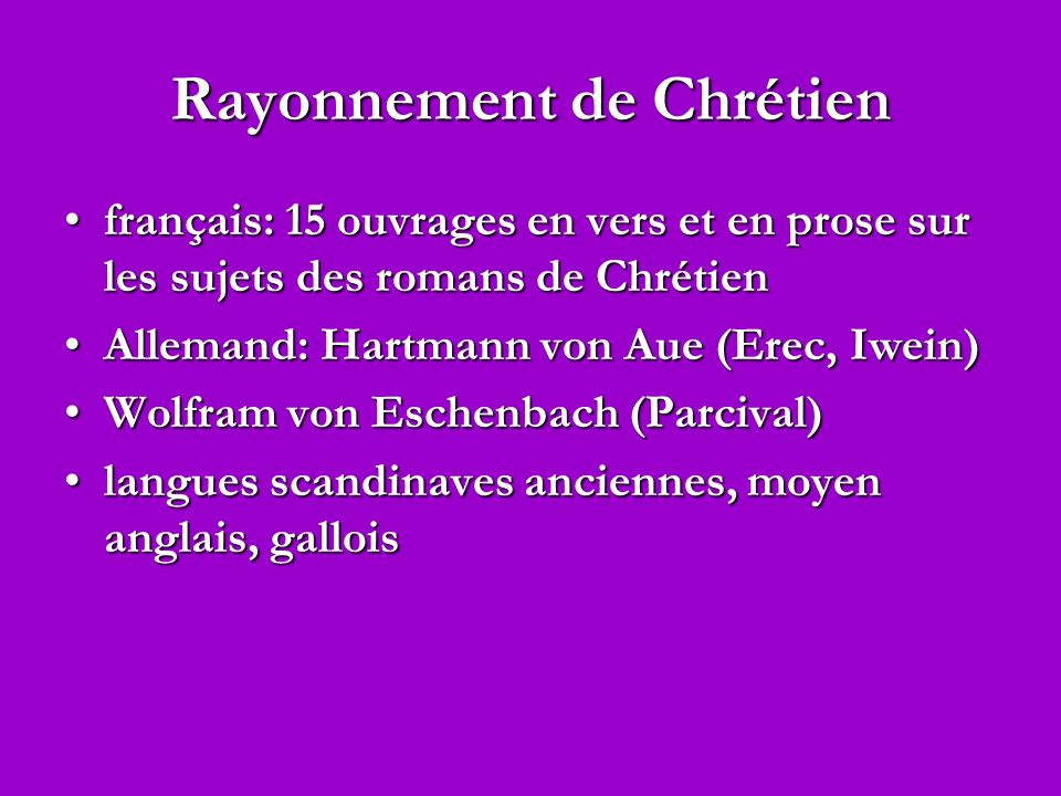 Rayonnement de Chrétien français: 15 ouvrages en vers et en prose sur les sujets des romans de Chrétienfrançais: 15 ouvrages en vers et en prose sur l