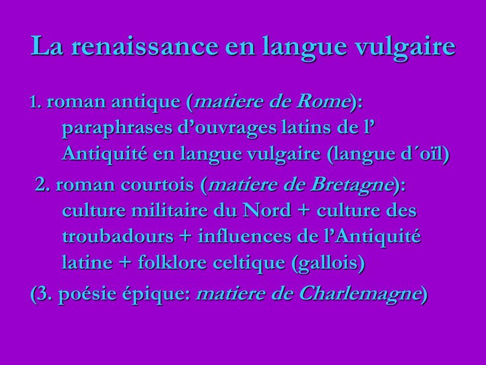 La renaissance en langue vulgaire 1. roman antique (matiere de Rome): paraphrases douvrages latins de l Antiquité en langue vulgaire (langue d´oïl) 2.