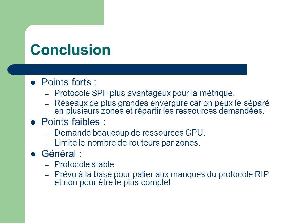 Conclusion Points forts : – Protocole SPF plus avantageux pour la métrique. – Réseaux de plus grandes envergure car on peux le séparé en plusieurs zon