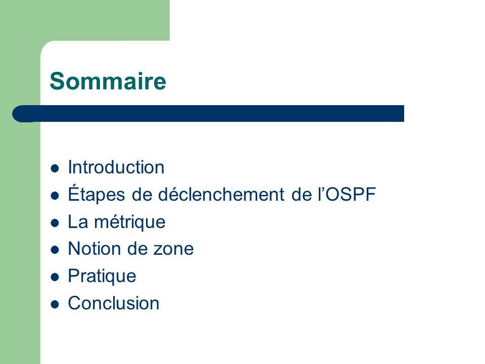 Sommaire Introduction Étapes de déclenchement de lOSPF La métrique Notion de zone Pratique Conclusion