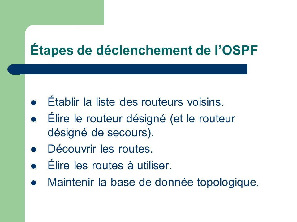 Étapes de déclenchement de lOSPF Établir la liste des routeurs voisins. Élire le routeur désigné (et le routeur désigné de secours). Découvrir les rou