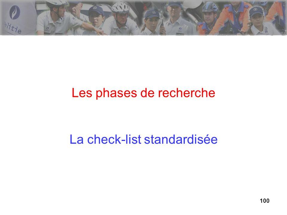100 Les phases de recherche La check-list standardisée