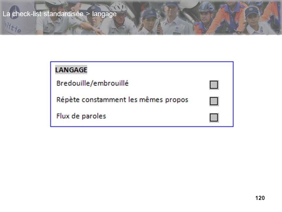 120 La check-list standardisée > langage