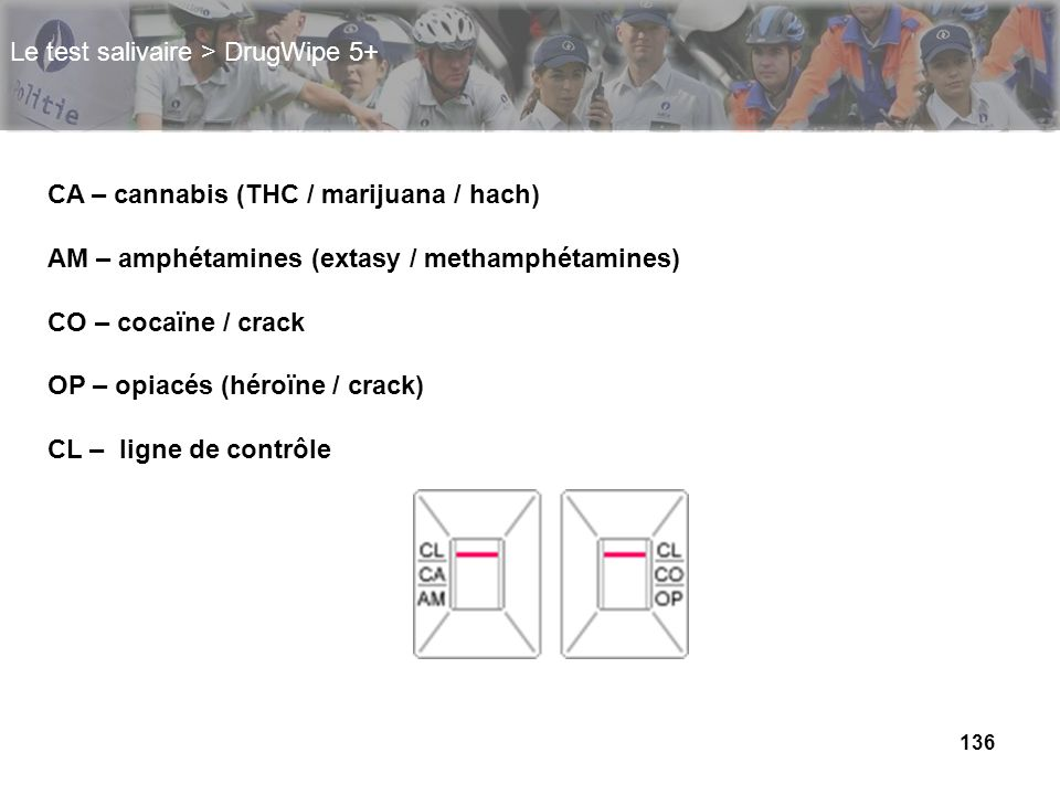 136 Le test salivaire > DrugWipe 5+ CA – cannabis (THC / marijuana / hach) AM – amphétamines (extasy / methamphétamines) CO – cocaïne / crack OP – opi
