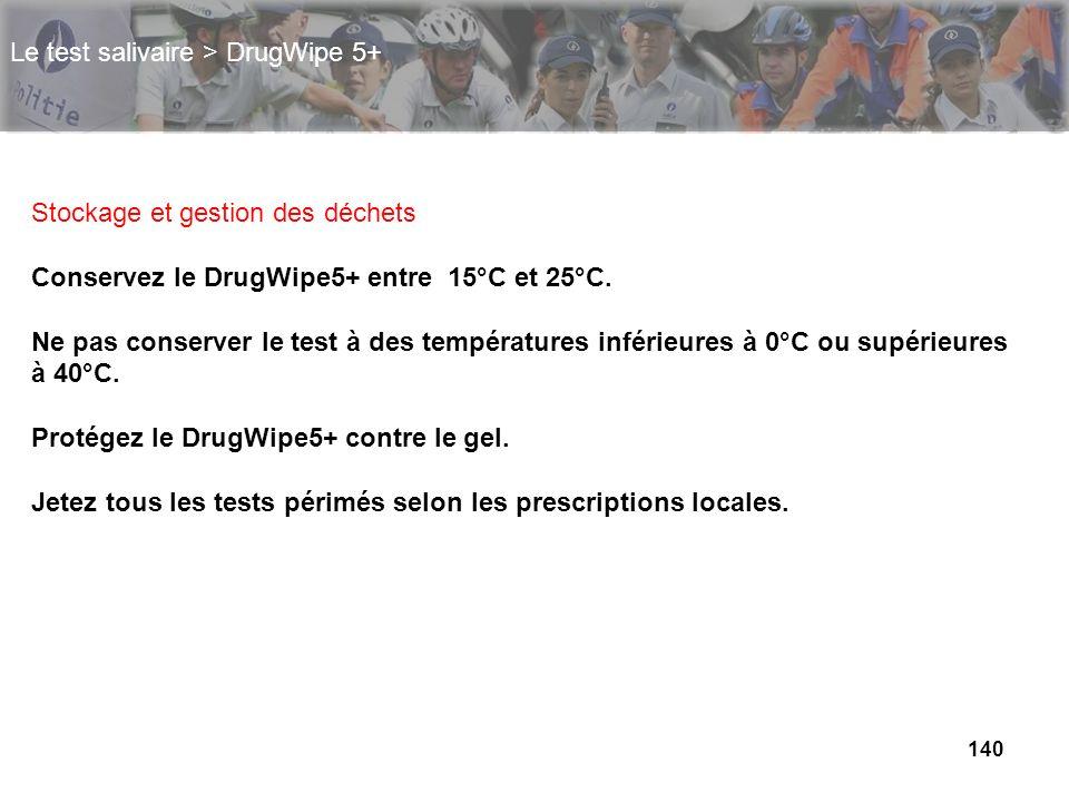 140 Le test salivaire > DrugWipe 5+ Stockage et gestion des déchets Conservez le DrugWipe5+ entre 15°C et 25°C. Ne pas conserver le test à des tempéra