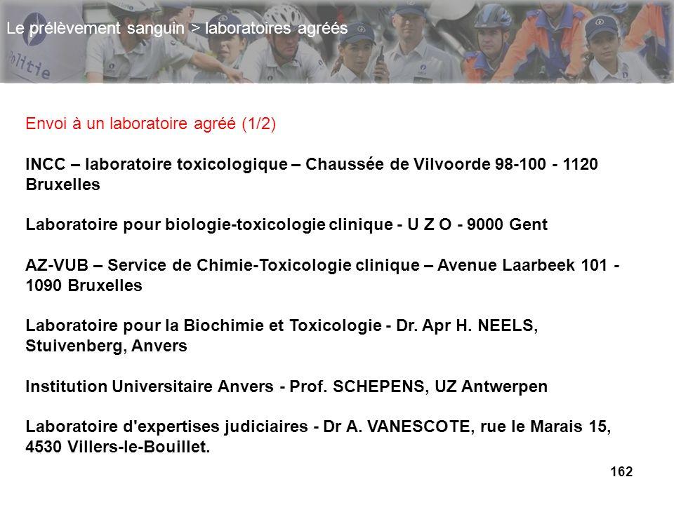 162 Envoi à un laboratoire agréé (1/2) INCC – laboratoire toxicologique – Chaussée de Vilvoorde 98-100 - 1120 Bruxelles Laboratoire pour biologie-toxi