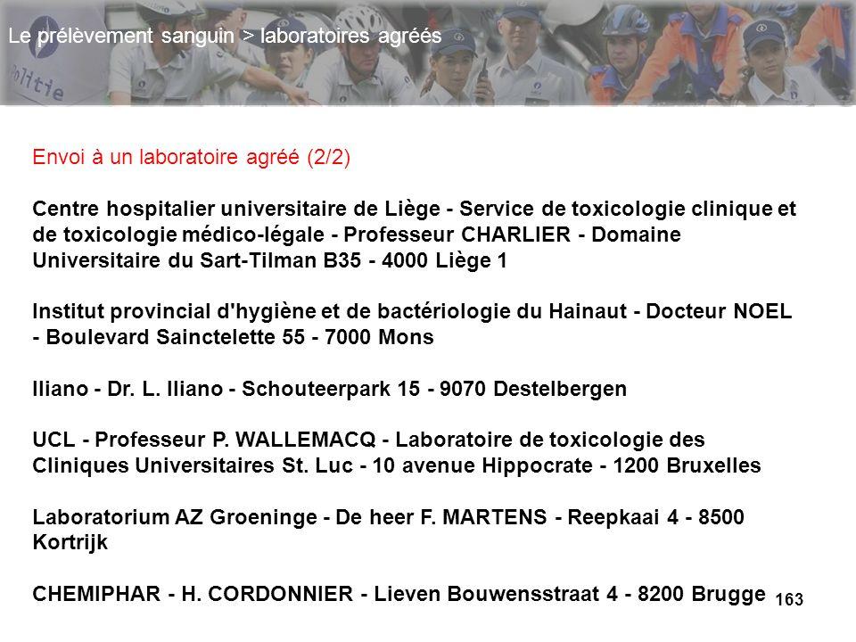 163 Envoi à un laboratoire agréé (2/2) Centre hospitalier universitaire de Liège - Service de toxicologie clinique et de toxicologie médico-légale - P