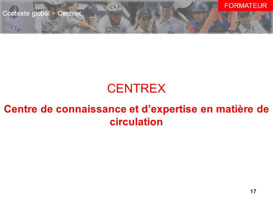 17 CENTREX Centre de connaissance et dexpertise en matière de circulation FORMATEUR Contexte global > Centrex