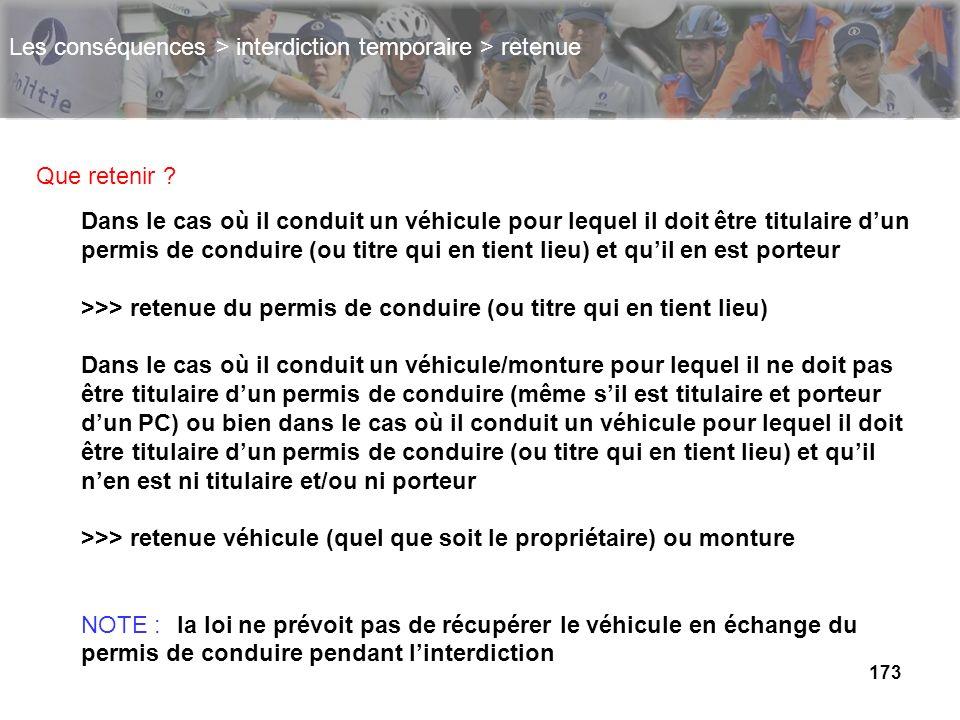 173 Les conséquences > interdiction temporaire > retenue Que retenir ? Dans le cas où il conduit un véhicule pour lequel il doit être titulaire dun pe