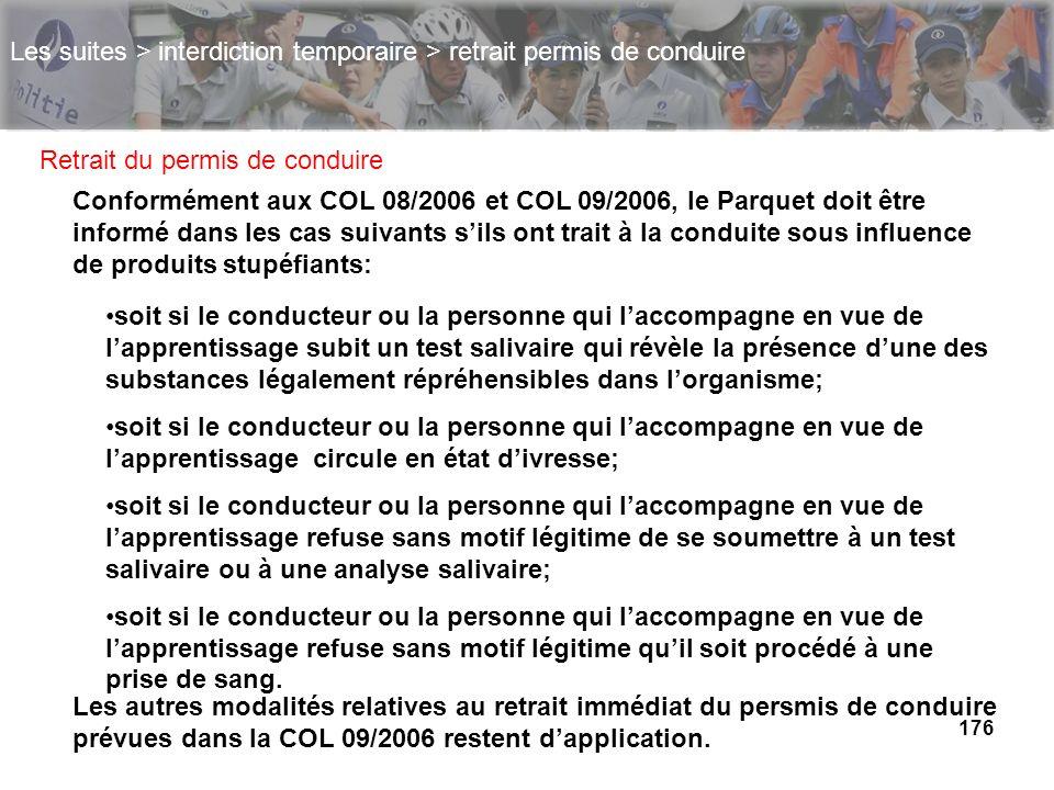 176 Les suites > interdiction temporaire > retrait permis de conduire Retrait du permis de conduire Conformément aux COL 08/2006 et COL 09/2006, le Pa