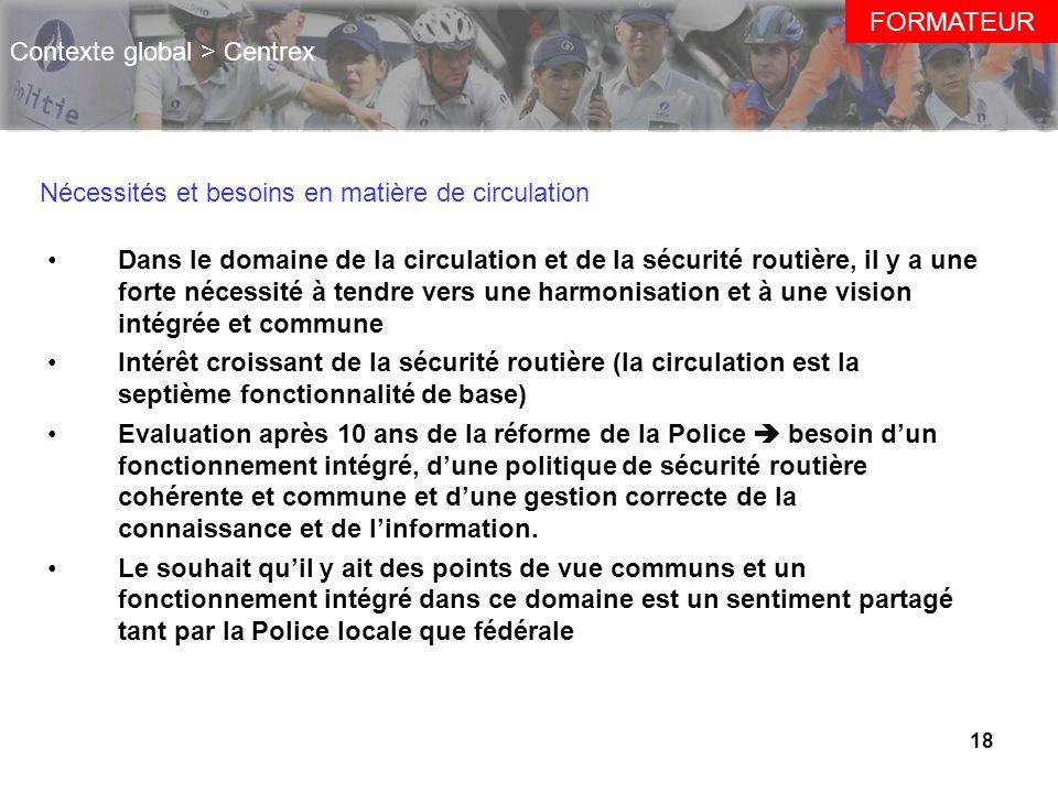 18 FORMATEUR Contexte global > Centrex Nécessités et besoins en matière de circulation Dans le domaine de la circulation et de la sécurité routière, i