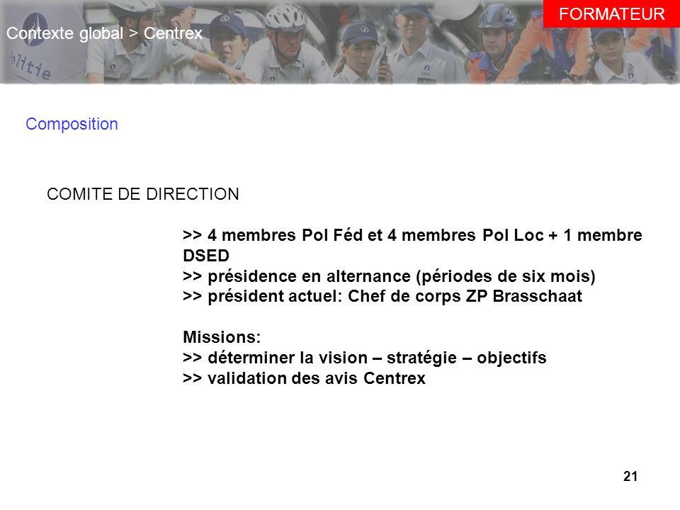 21 FORMATEUR Contexte global > Centrex Composition COMITE DE DIRECTION >> 4 membres Pol Féd et 4 membres Pol Loc + 1 membre DSED >> présidence en alte