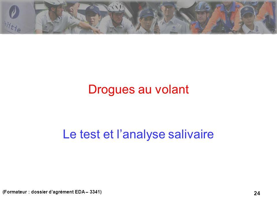 24 Drogues au volant Le test et lanalyse salivaire (Formateur : dossier dagrément EDA – 3341)
