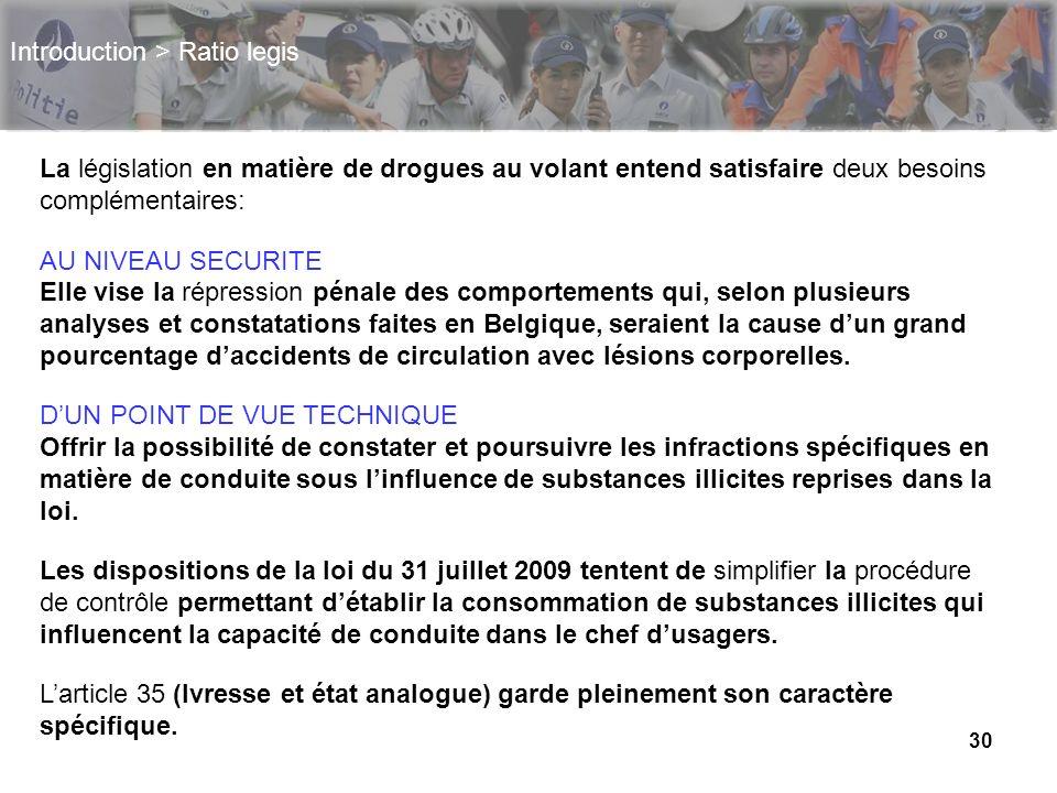 30 Introduction > Ratio legis La législation en matière de drogues au volant entend satisfaire deux besoins complémentaires: AU NIVEAU SECURITE Elle v
